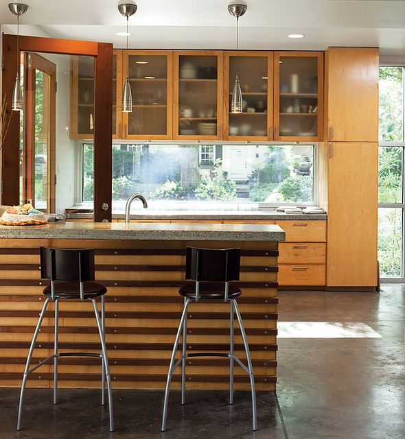 Kitchen, Modern, Wood Cabinets, Concrete Floors, Window Back splash, Contemporary