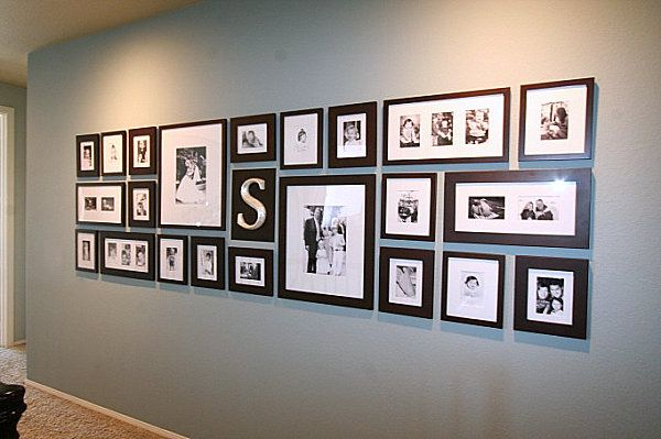 Gallery Style Framed Wall Installation, Picture Frames, Black and White