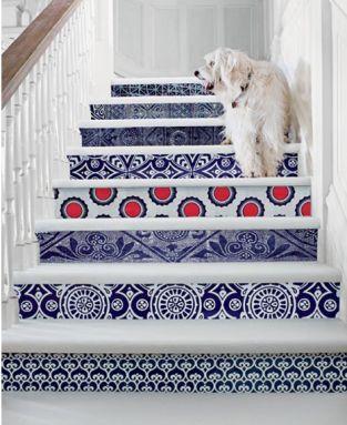white and blue spanish tile stair riser