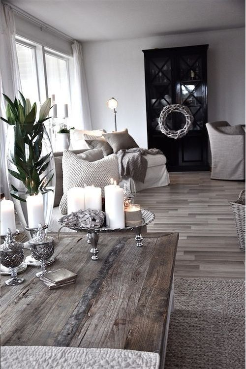 Gray and Black, Wood table, hardwood floors