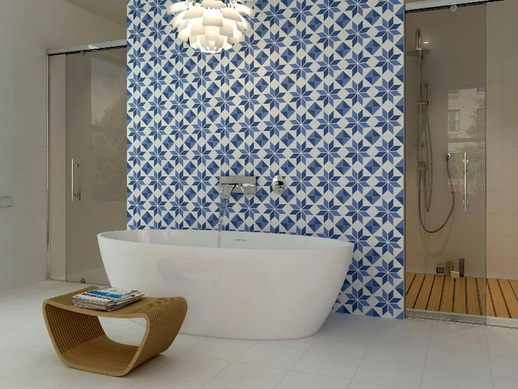 Spanish Tile, white and blue, pattern, bathroom, feature wall