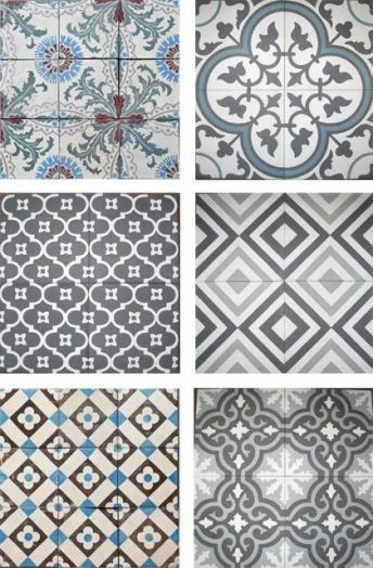 Gray and White Pattern Tile, Moroccan, Spanish STyle