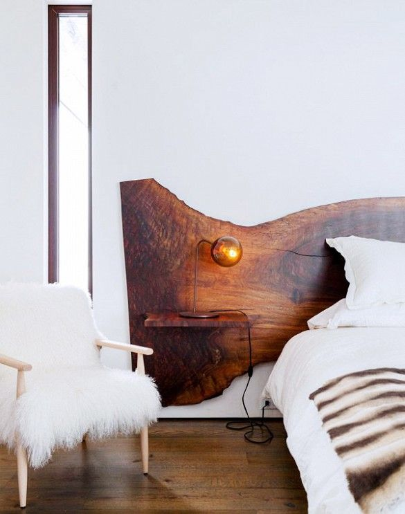 bedroom, headboard, floating, live edge wood, natural