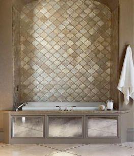 Gold, Metallic, Glass Tile, Moroccan, Contemporary