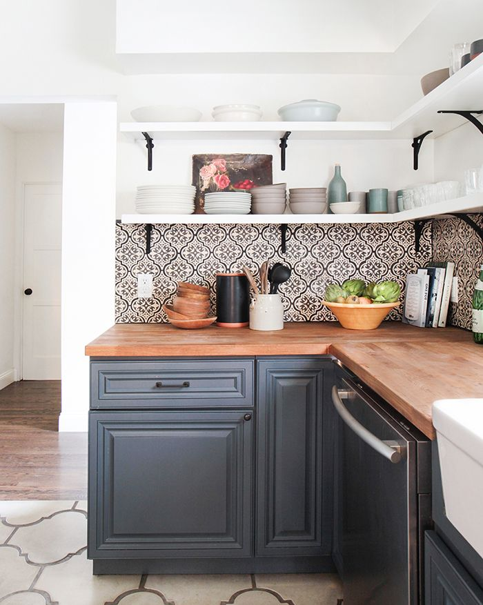 kitchen, DIY, moroccan tile, pattern, white and gray