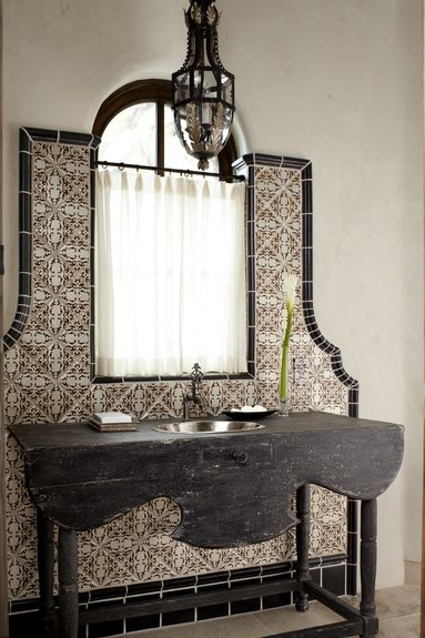 spanish tile, bathroom vanity, feature wall, tan and brown
