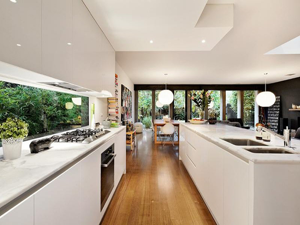 Kitchen, Modern, White Cabinets, Wood Floors, Window Back splash, Contemporary