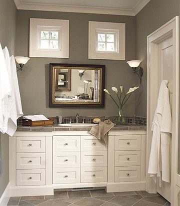 Bathroom, White Cabinets, Farmhouse, Square Windows