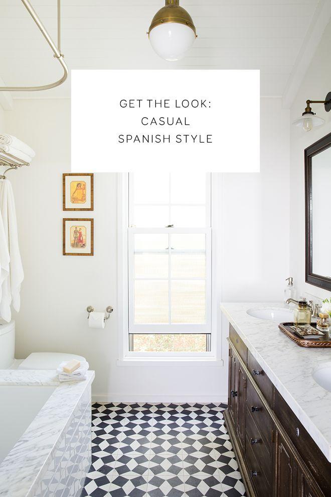 spanish tile, black and white