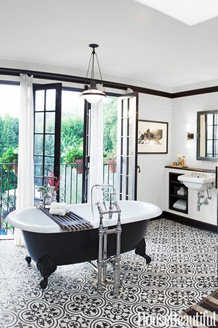 Pattern Bathroom Tile Floor, Black and White