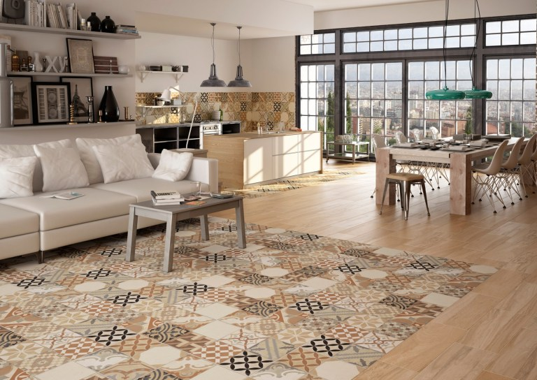 cream and beige Moroccan tile flooring