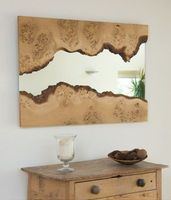 mirror, interior design, live edge wood, natural