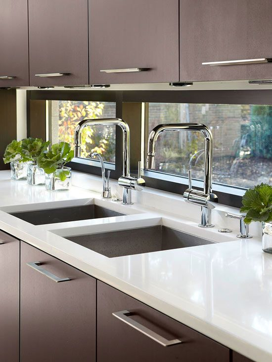 Kitchen, Modern, Dark Cabinets, White Counter, Window Back splash, Contemporary