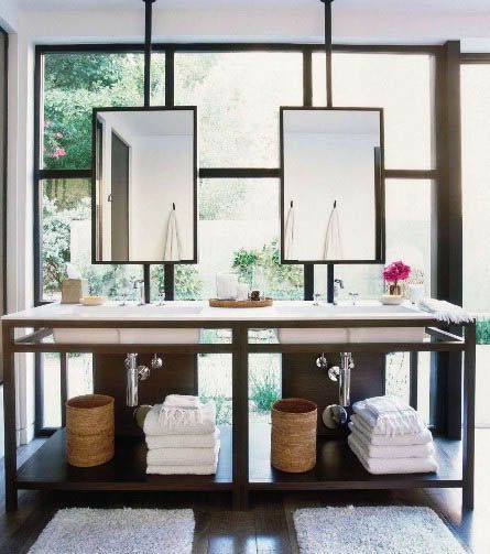 Mirrors at Window, Modern, Bathroom, Vanity, Steal Sash Window