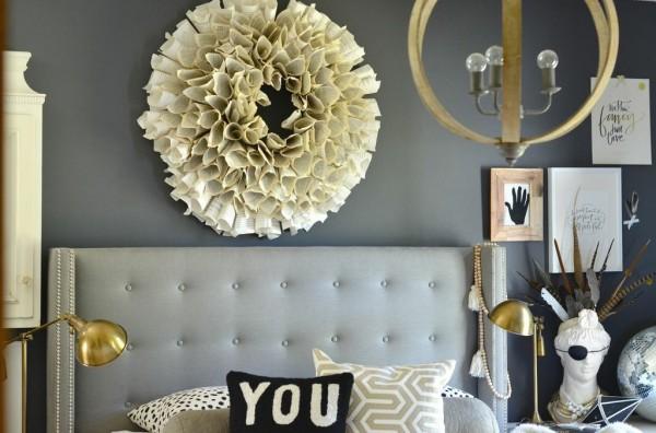 eclectic, bedroom, art, cream and gray, wood chandelier