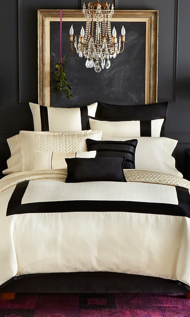 bedroom, classic, black and gold, dramatic, chandelier, bedding, cream, black