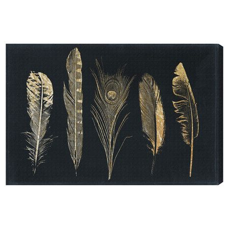 art, black and gold, feathers, trend