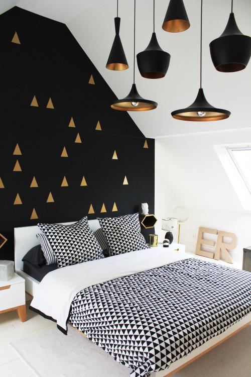 lamp, lighting, black and gold, modern, trend, metallic, bedroom