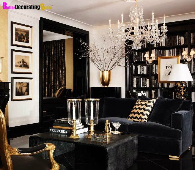 living room, black and gold, black couch, white walls, gold furniture